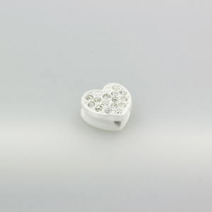 Cuore strass - K1061 - Bianco