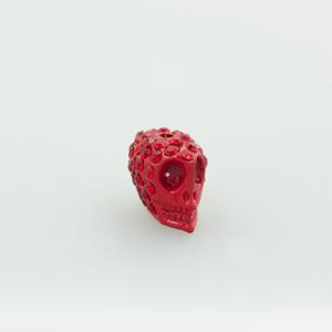 Teschio strass - K1062 - Rosso