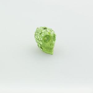 Teschio strass - K1062 - Verde