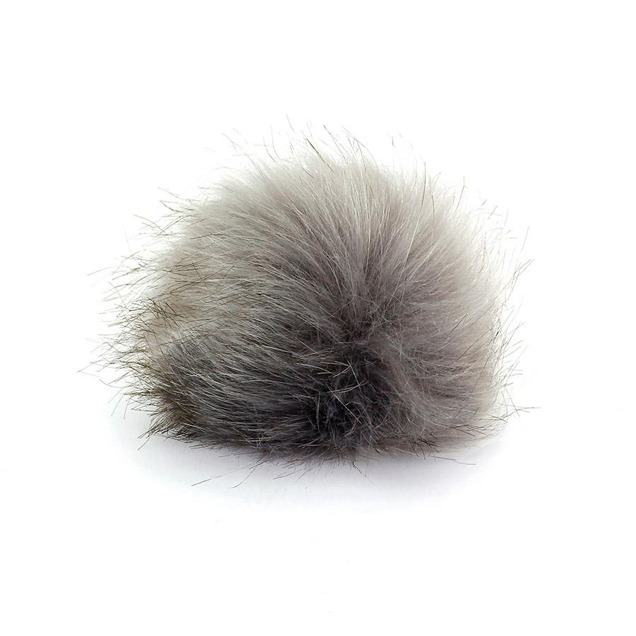 Pompon in pelliccia ecologica - imitazione volpe - K1248-10 - Grigio Chiaro