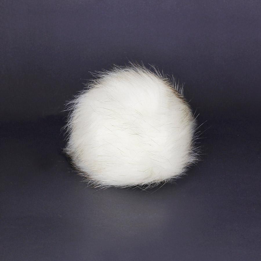 Pompon in pelliccia ecologica - imitazione volpe - K1248-10 - Bianco