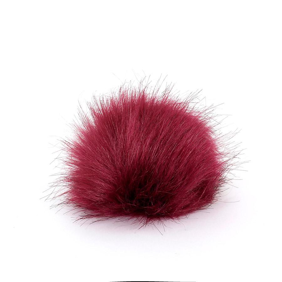 Pompon in pelliccia ecologica - imitazione volpe - K1248-10 - Bordeaux