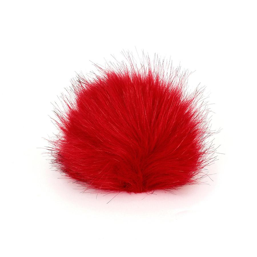 Pompon in pelliccia ecologica - imitazione volpe - K1248-10 - Rosso