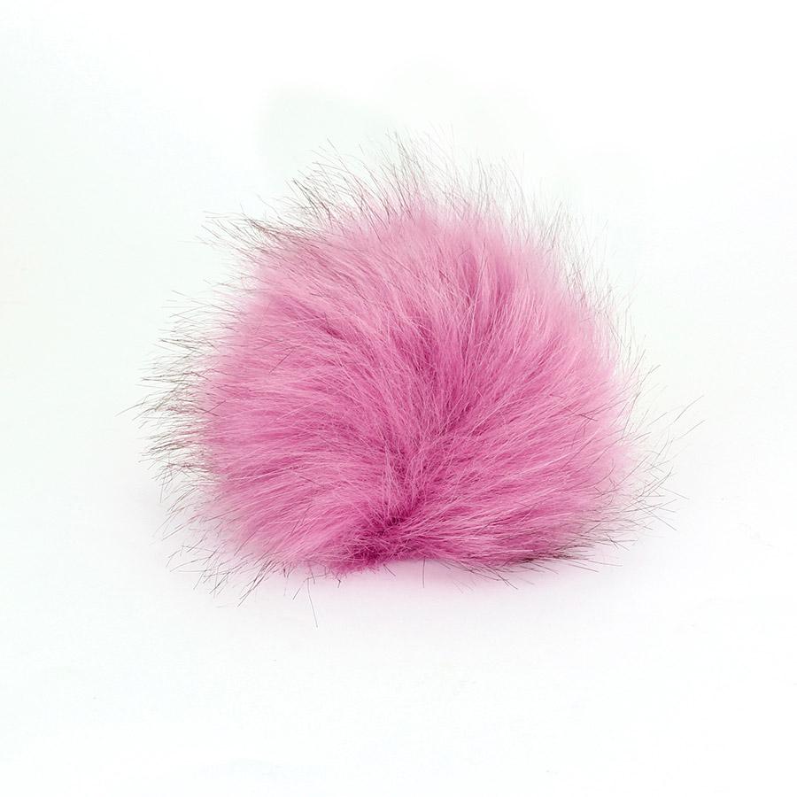 Pompon in pelliccia ecologica - imitazione volpe - K1248-10 - Glicine