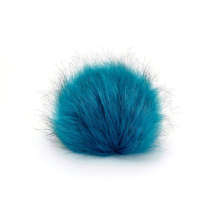 Pompon in pelliccia ecologica - imitazione volpe - K1248-10 - Turchese