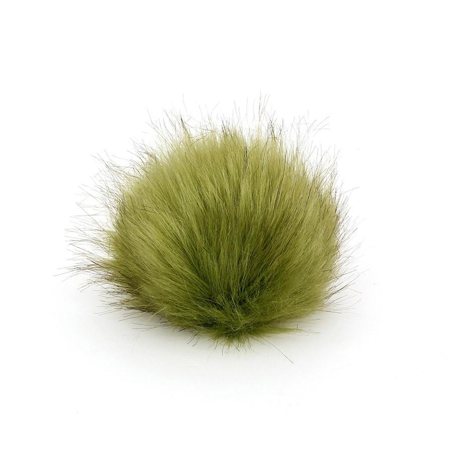 Pompon in pelliccia ecologica - imitazione volpe - K1248-10 - Verde