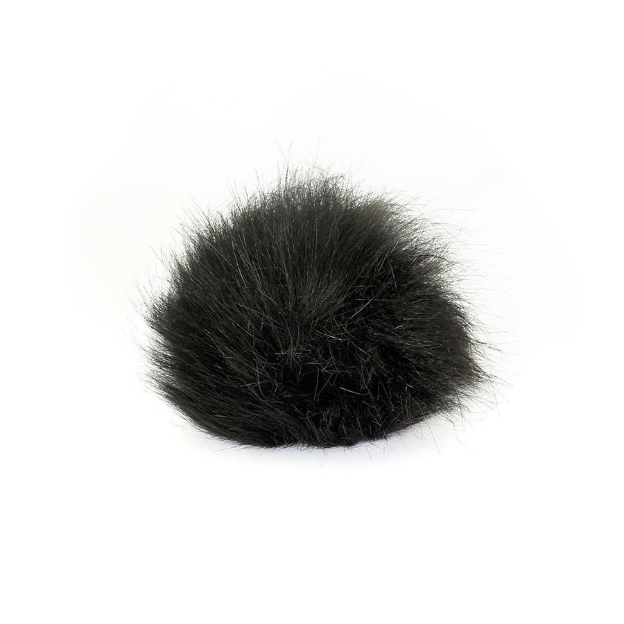 Pompon in pelliccia ecologica - imitazione volpe - K1248-15 - Nero