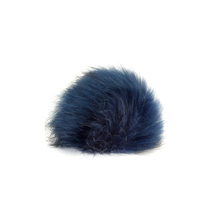 Pompon in pelliccia ecologica - imitazione volpe - K1248-15 - Blu