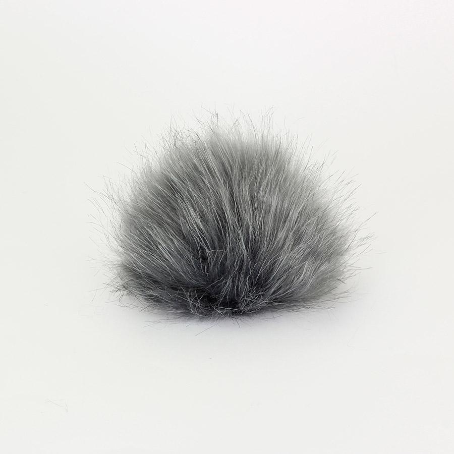 Pompon in pelliccia ecologica - imitazione volpe - K1248-15 - Grigio scuro