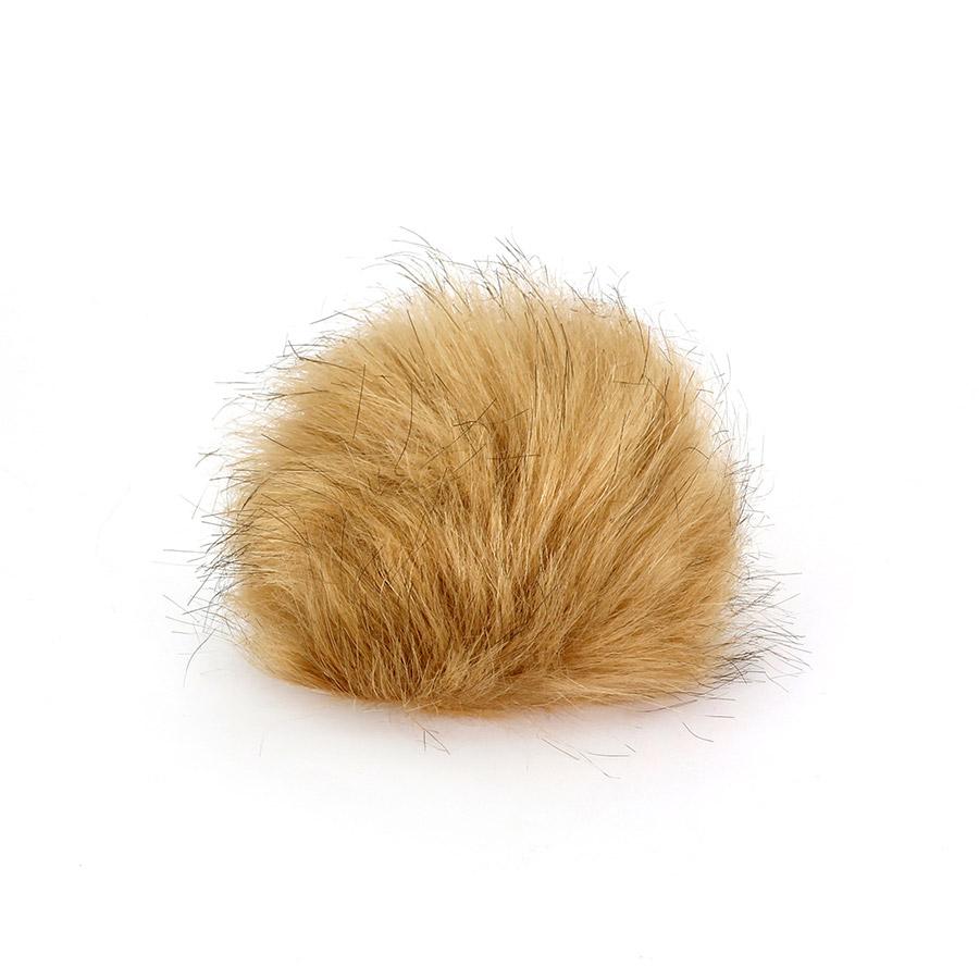 Pompon in pelliccia ecologica - imitazione volpe - K1248-15 - Beige