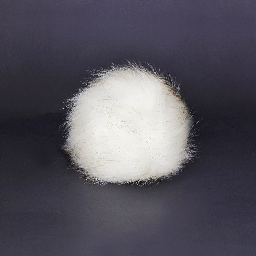 Pompon in pelliccia ecologica - imitazione volpe - K1248-15 - Bianco