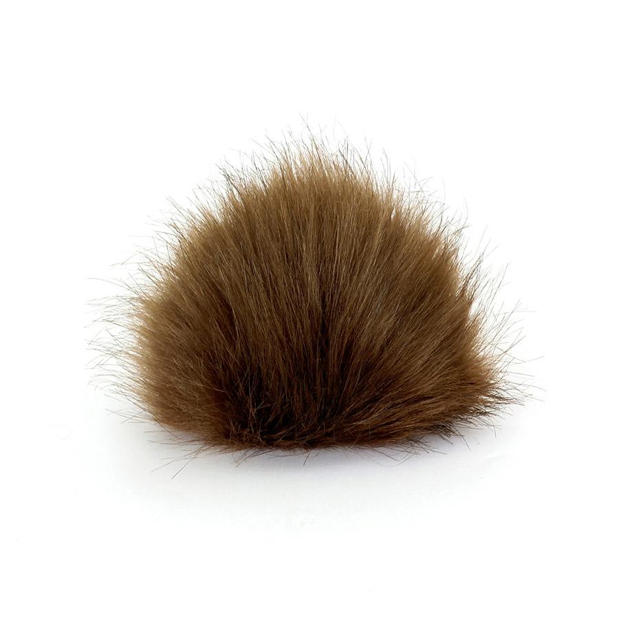 Pompon in pelliccia ecologica - imitazione volpe - K1248-15 - Marrone